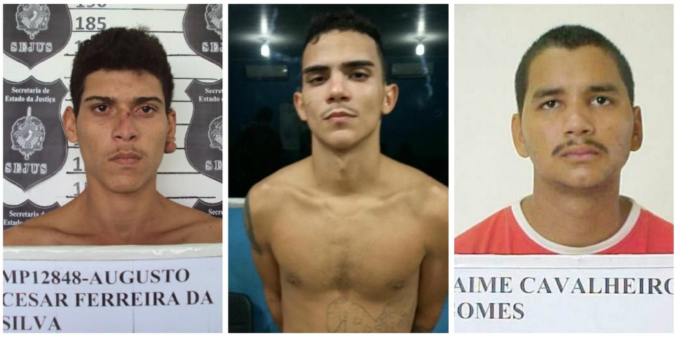 Os detentos foragidos Augusto César Ferreira, Robson Vidal de Almeida e Jaime Cavaleiro Gomes, respectivamente. — Foto: Divulgação/Sejus