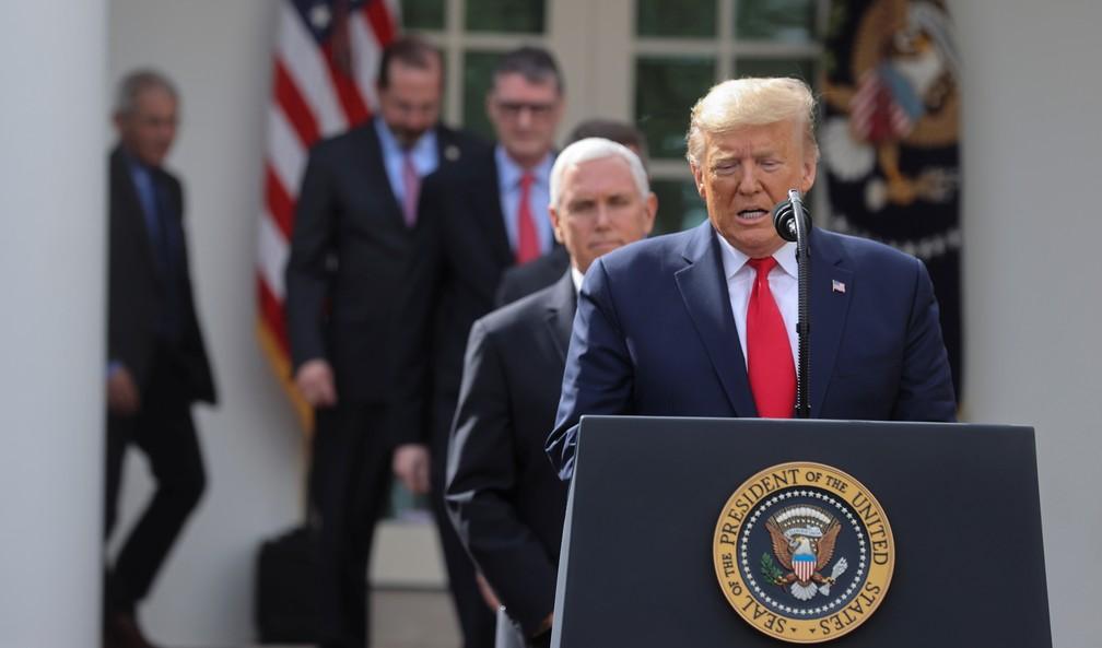 Trump anuncia emergência nacional nos EUA por causa do coronavírus nesta sexta-feira (13) — Foto: Reuters/Jonathan Ernst