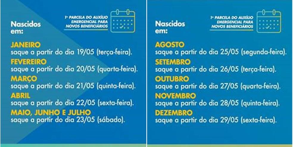 Calendário pagamento Caixa auxílio emergencial — Foto: Caixa Econômica Federal/Divulgação