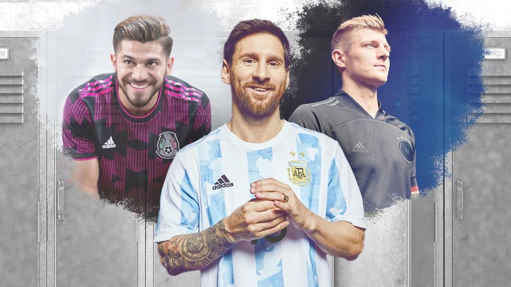 Carrossel novos uniformes Alemanha Argentina México e outras seleções — Foto: Infoesporte/ge.globo