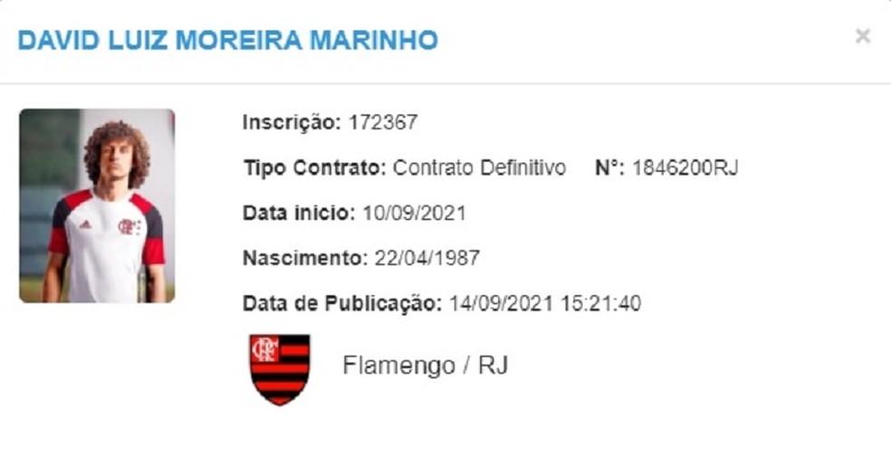 David Luiz registrado no BID da CBF pelo Flamengo — Foto: Reprodução