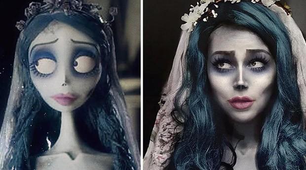 """Sua fantasia de Emily, do filme do Tim Burton """"A Noiva Cadáver"""" (Foto: Instagram/benzoate_ost)"""