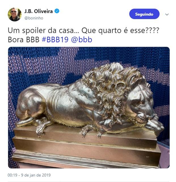 Boninho posta foto de detalhe de quarto do BBB19 (Foto: Reprodução/Twitter)