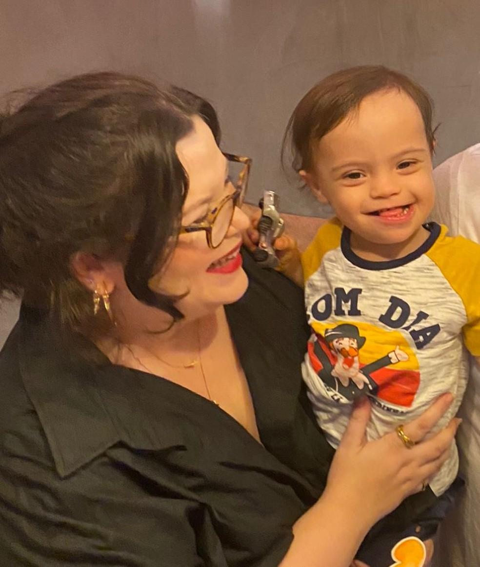 Ana Flávia de Figueiredo é mãe de Álvaro, de 3 anos, que tem síndrome de down; ele ainda não começou a estudar, mas a família já se preocupa com a possível criação de escolas separadas — Foto: Ana Flávia de Figueiredo/Arquivo pessoal