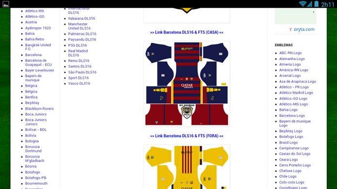 Acesse um site com imagens de kits e copie a URL de um kit (Foto Dream  League Soccer ... 0bcad83b14086