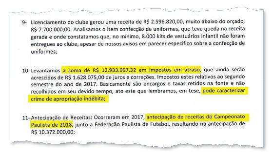 Trecho do parecer redigido pelo Conselho Fiscal do Santos sobre as contas de 2017 (Foto: Reprodução)