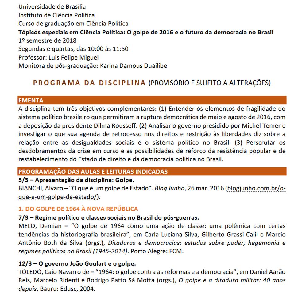 Ementa da disciplina 'o golpe de 2016', do curso de ciência política da UnB (Foto: Reprodução)