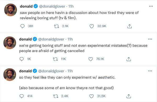 Donald Glover falou sobre a indústria do entretenimento no Twitter (Foto: Reprodução / Twitter)