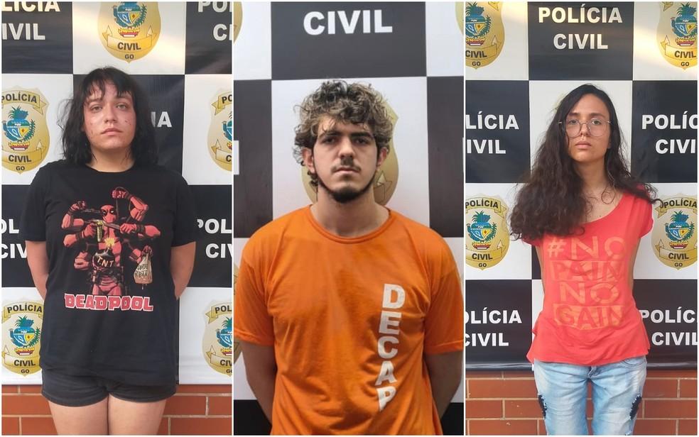 Enzo Jacomini, Jeferson Rodrigues e Raíssa Borges foram presos suspeitos de matar amiga em Goiânia — Foto: Reprodução/TV Anhanguera