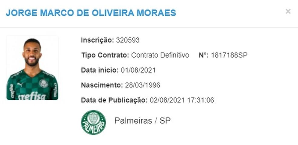Jorge é regularizado pelo Palmeiras — Foto: Reprodução