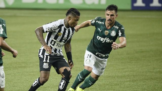 Marinho e Willian disputam jogada no clássico Palmeiras x Santos