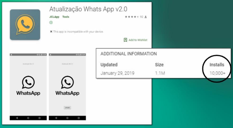 Applicativo falso se passa por atualização do WhatsApp na Play Store — Foto: Divulgação/Kaspersky