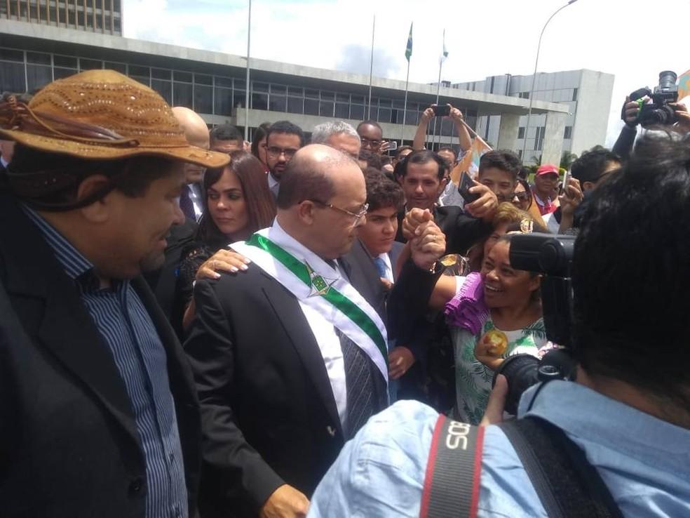 Ibaneis Rocha na Praça do Buriti — Foto: Beatriz Pataro/TV Globo
