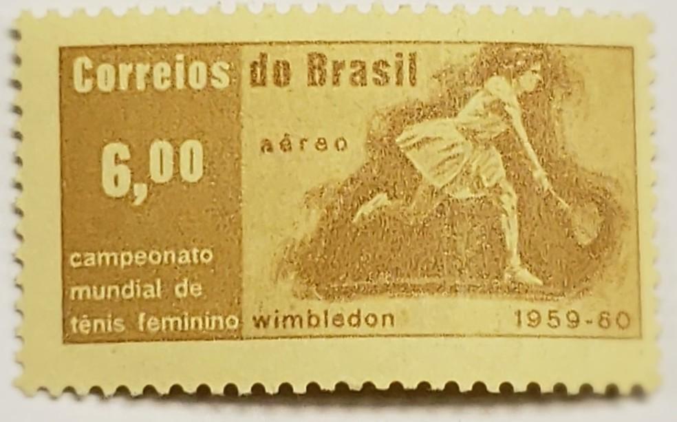 Selo comemorativo dos Correios pelo título de Maria Esther em Wimbledon 1959 — Foto: Divulgação / Correios