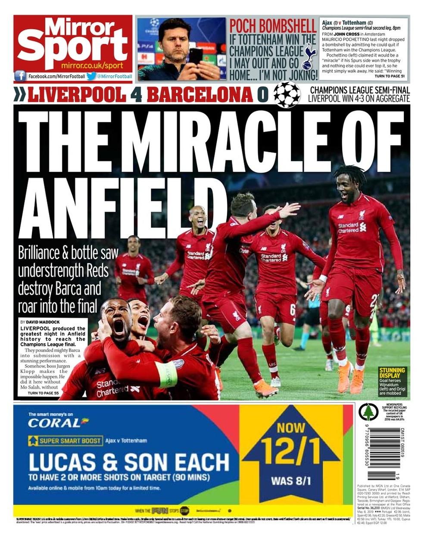 The Mirror Liverpool x Barcelona — Foto: Reprodução
