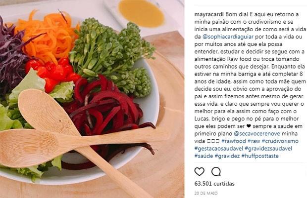 Post em que Mayra Cardi anuncia dieta que pretende seguir durante a gravidez e também para a bebê (Foto: Reprodução / Instagram)