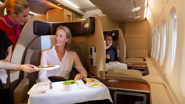 Cabine de primeira classe da Qantas Airways (Foto: Qantas Airways/Divulgação)