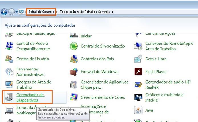 Abra o gerenciador de dispositivos no painel de controle do Windows 7 (Foto: Reprodução/Barbara Mannara)