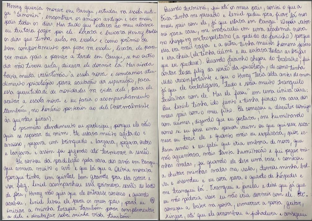 Caso Henry Borel: carta de Monique Medeiros (parte 9) — Foto: Reprodução