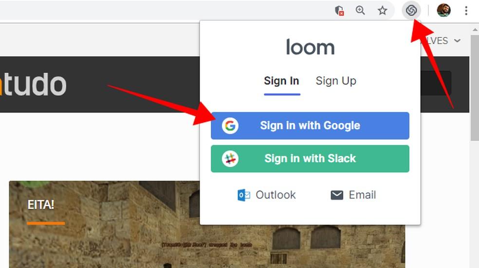 Faça login no Loom — Foto: Reprodução/Paulo Alves