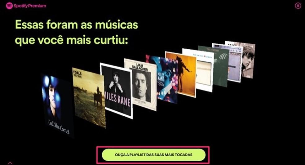 Tela com as músicas mais curtidas em uma conta do Spotify em 2019 — Foto: Reprodução/Marvin Costa