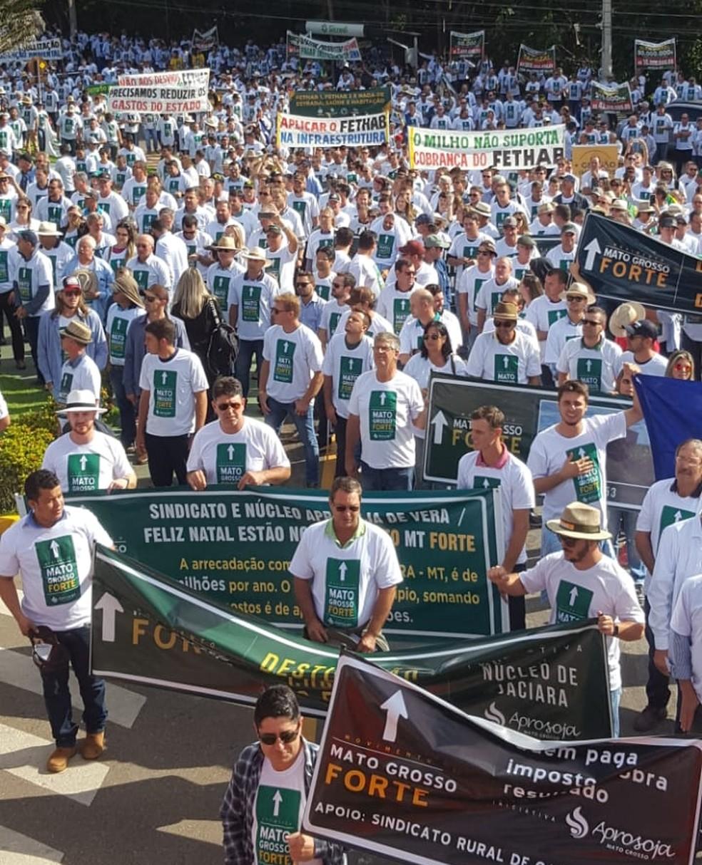 Produtores rurais de MT fazem manifestação e apresentam reivindicações ao governo do estado — Foto: Aprosoja/Assessoria