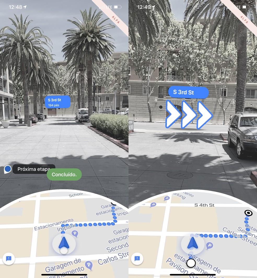 No Live View do Google Maps. elementos digitais são exibidos por cima das imagens da câmera — Foto: Reprodução/TechTudo