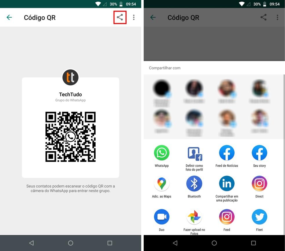 QR Code dos grupos do WhatsApp podem ser compartilhados — Foto: Reprodução/Rodrigo Fernandes