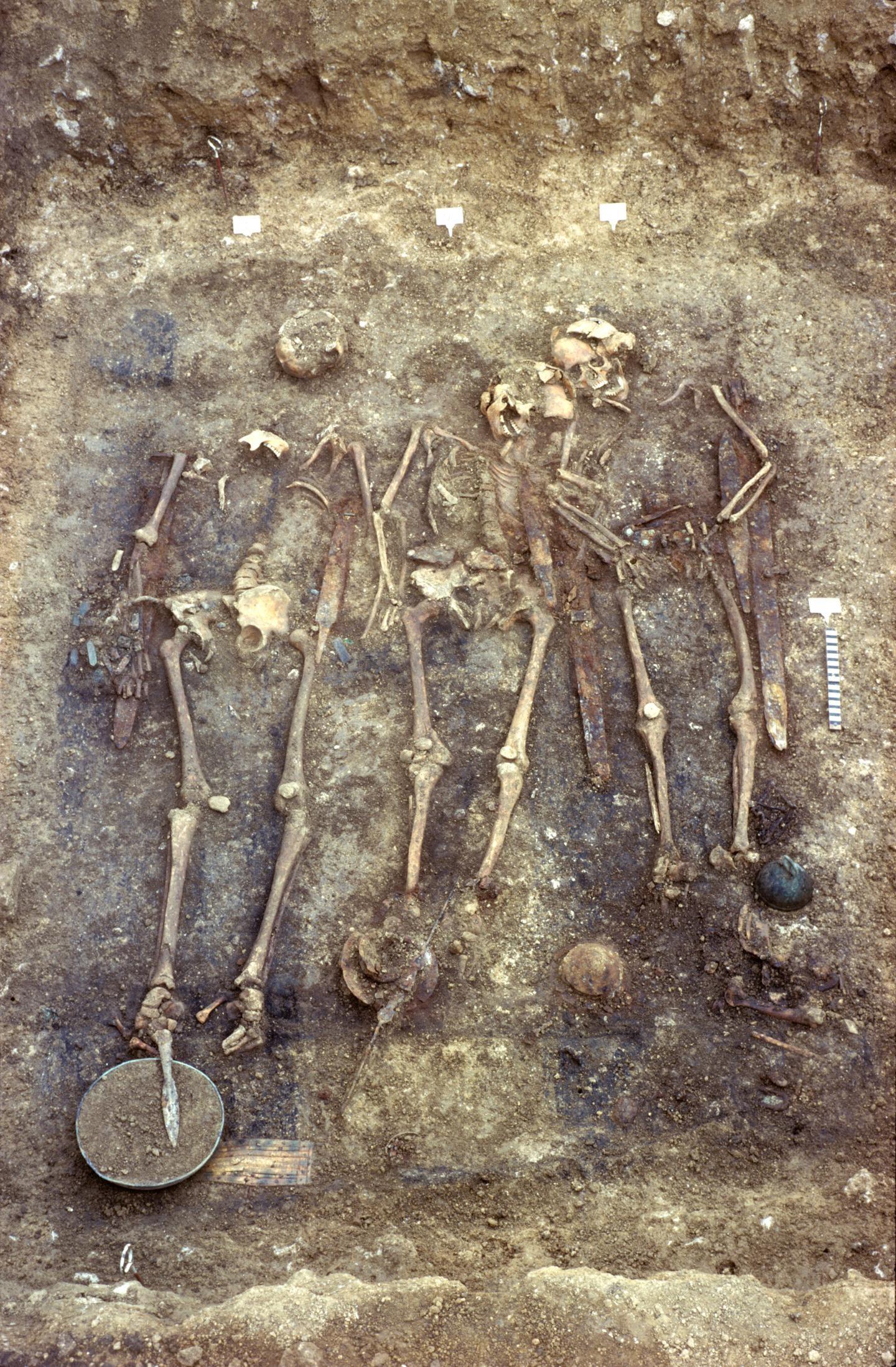 Ossos humanos eram de 11 homens, e dois não puderam ser identificados (Foto: Landesamt für Denkmalpflege im RP Stuttgart)