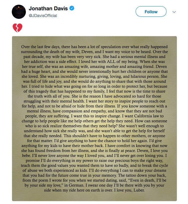 O comunicado publico compartilhado pelo vocalista do Korn sobre a morte de sua esposa (Foto: Instagram)