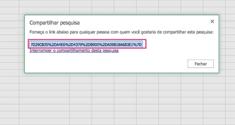 Link de compartilhamento para uma pesquisa criada no Excel Online — Foto: Reprodução/Marvin Costa