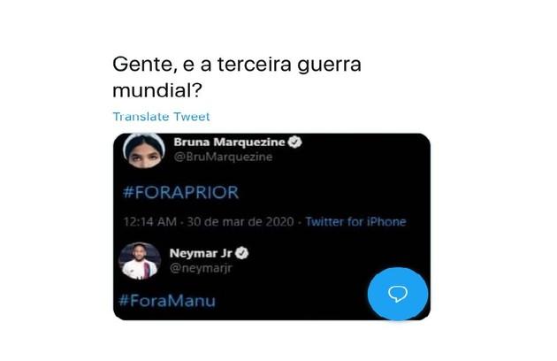 Internautas classificaram como Terceira Guerra Mundial a 'disputa' entre Neymar e Bruna Marquezine (Foto: Reprodução)