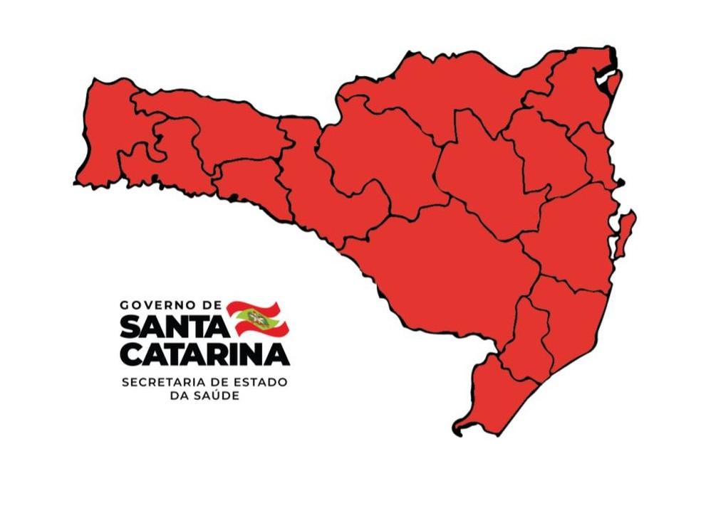 Matriz de risco da Covid-19 mostra todas as regiões em nível gravíssimo em SC — Foto: Reprodução/Governo de Santa Catarina