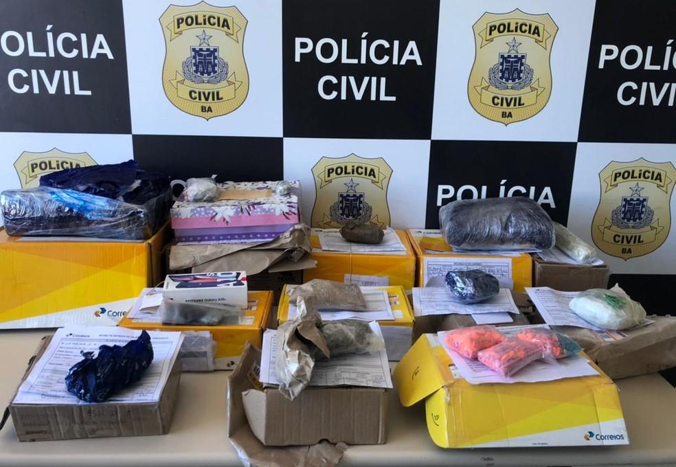 Maconha e ecstasy foram apreendidos no Centro de Distribuição dos Correios, em Salvador — Foto: Divulgação/SSP-BA