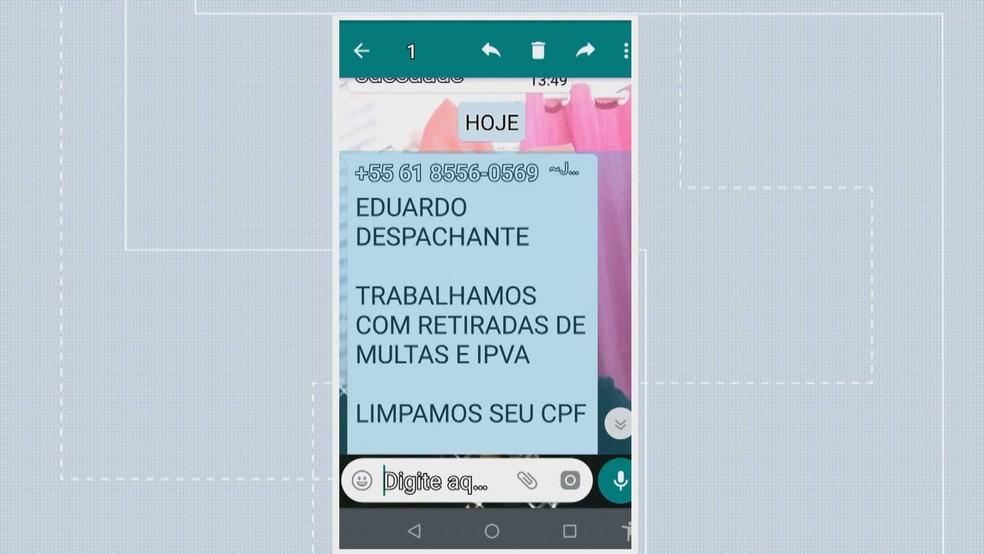 Mensagem enviada por estelionatários que se passavam por funcionários do Detran-DF para zerar dívidas de motoristas — Foto: TV Globo/Reprodução