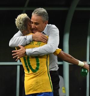 Neymar Tite Brasil x Colombia (Foto: AFP)