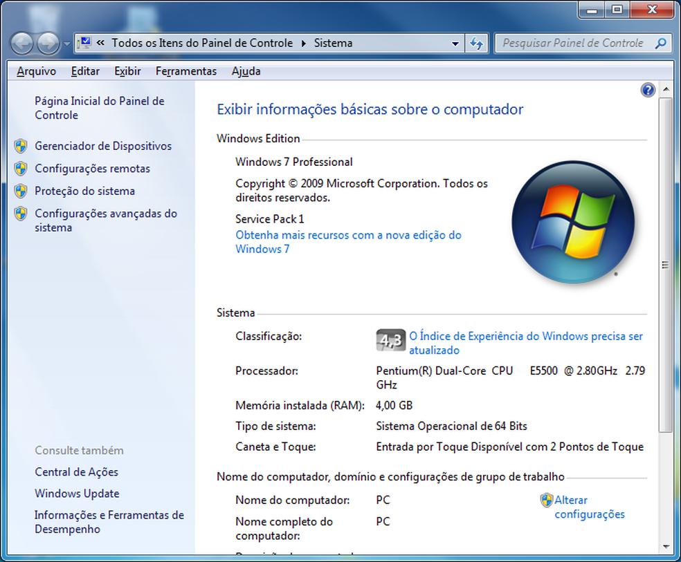 Visualizando as informações do Windows 7 — Foto: Edivaldo Brito/TechTudo