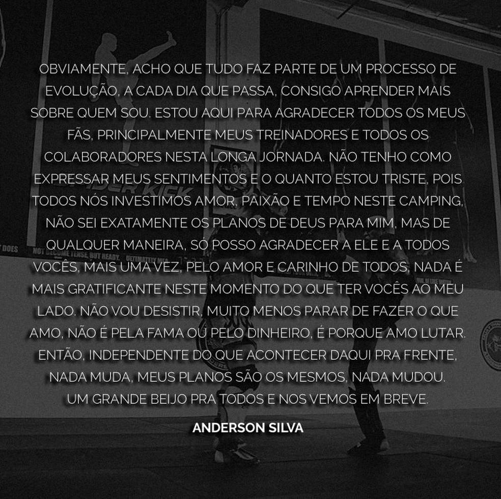 Mensagem de Anderson Silva sobre o possível flagrante por doping (Foto: Reprodução / Twitter)