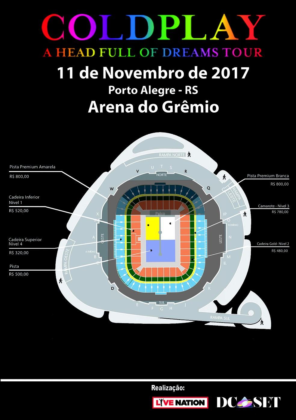 Mapa da Arena do Grêmio para show do Coldplay em Porto Alegre em novembro de 2017 (Foto: Divulgação)