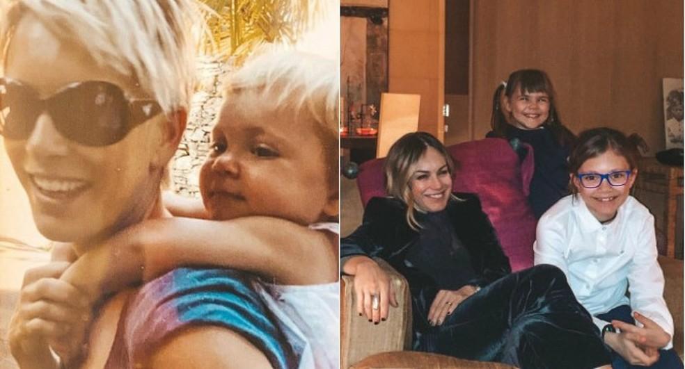 Alexia acompanhada das filhas, nos anos 2000 e em foto recente — Foto: Reprodução/Instagram da cantora