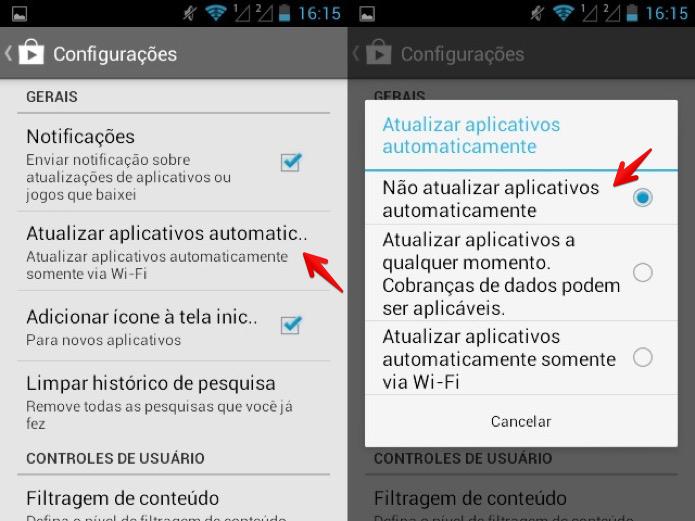 Desativando atualização automática dos aplicativos (Foto: Reprodução/Helito Bijora)