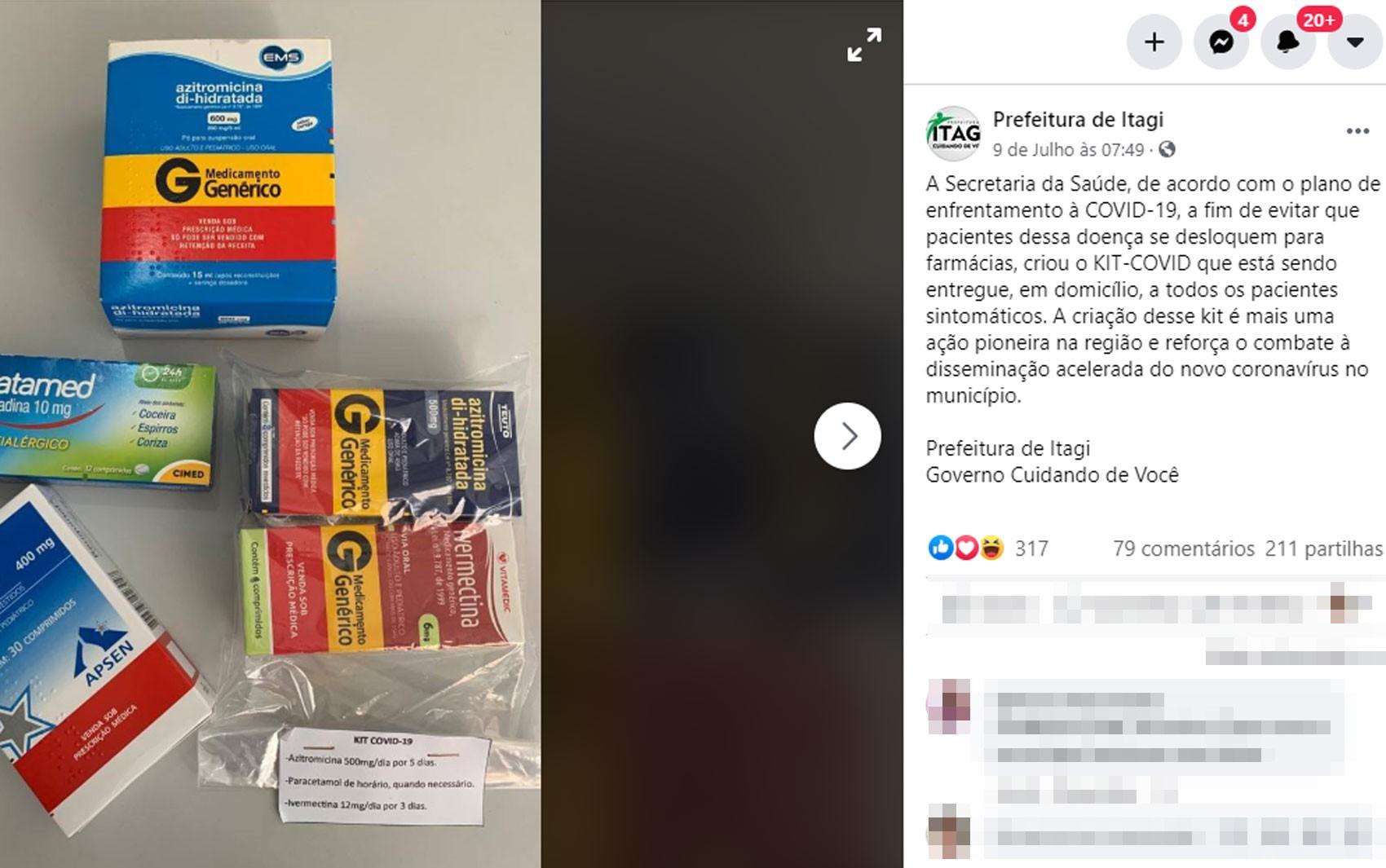Secretaria de cidade na BA cria 'Kit Covid' com remédios para pessoas sintomáticas e diz que entrega é à domicílio