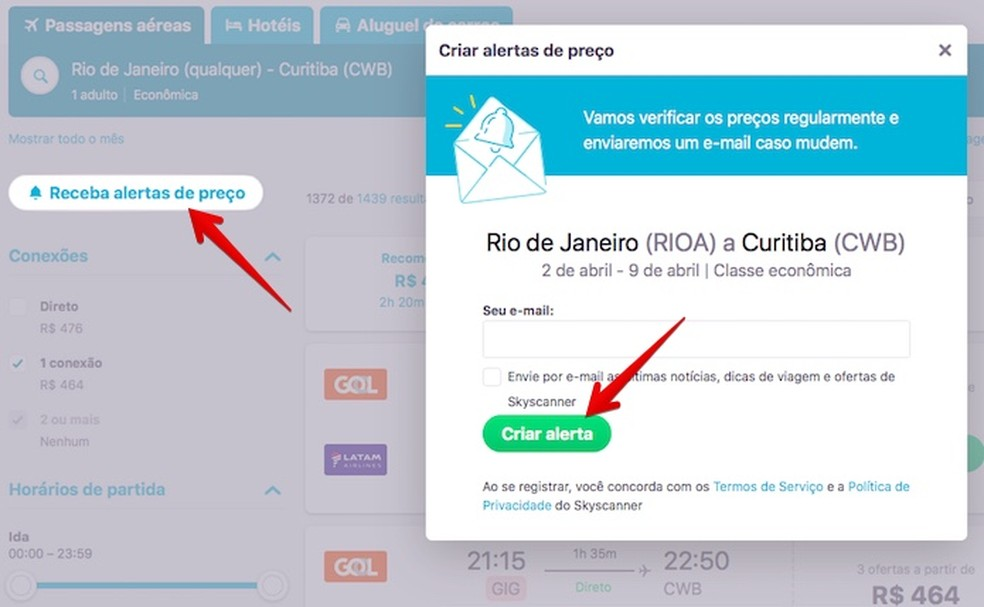 Criando alerta de preço via e-mail (Foto: Reprodução/Helito Bijora)