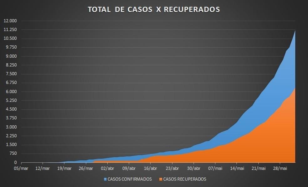 Veja gráfico de recuperados da Covid-19 no DF — Foto: Reprodução