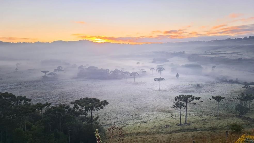 Cidade serrana nesta manhã de quinta-feira (5) — Foto: Mycchel Legnaghi/São Joaquim Online