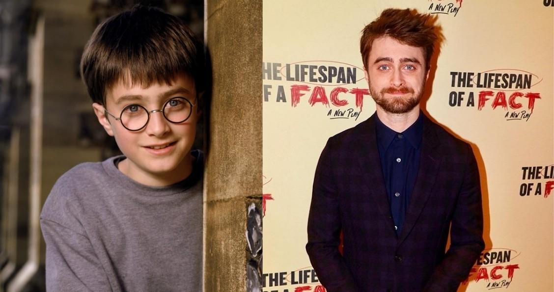 Daniel Radcliffe aos 11 anos em 2001, no filme 'Harry Potter e a Pedra Filosofal', e aos 29, em evento da peça 'The Lifespan of a Fact'  (Foto: Reprodução; @lifespanofafact/Instagram)