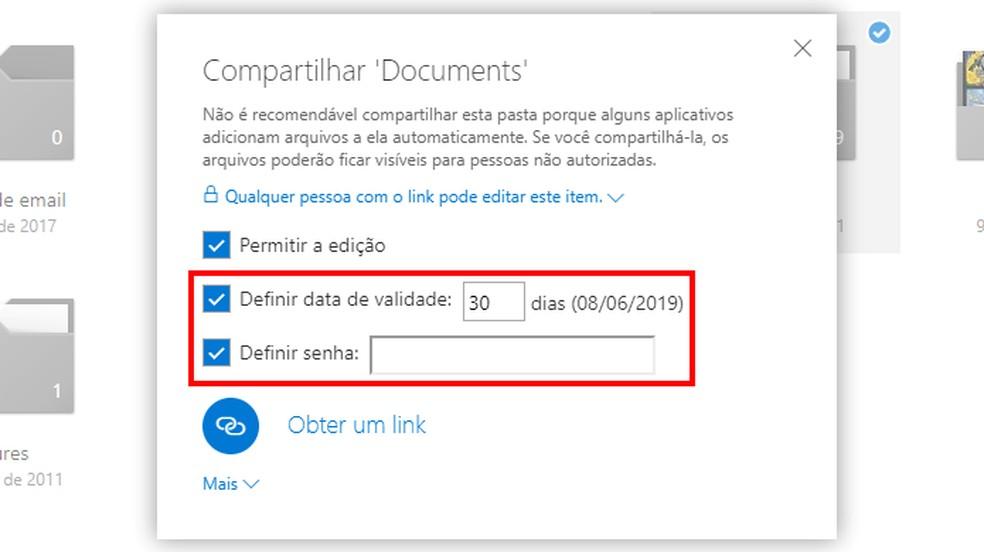 Defina data de validade e senha do compartilhamento — Foto: Reprodução/Paulo Alves
