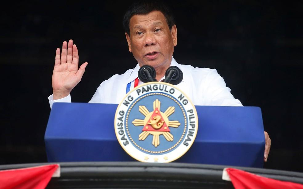 O presidente das Filipinas, Rodrigo Duterte, em foto de 11 de junho — Foto: AP Photo/Bullit Marquez