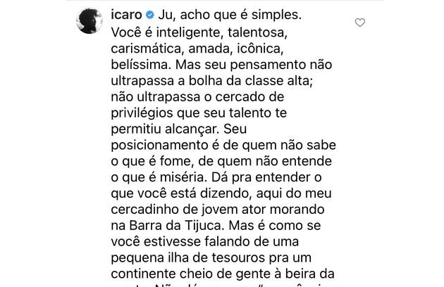 Ícaro Silva também se posicionou (Foto: Reprodução)