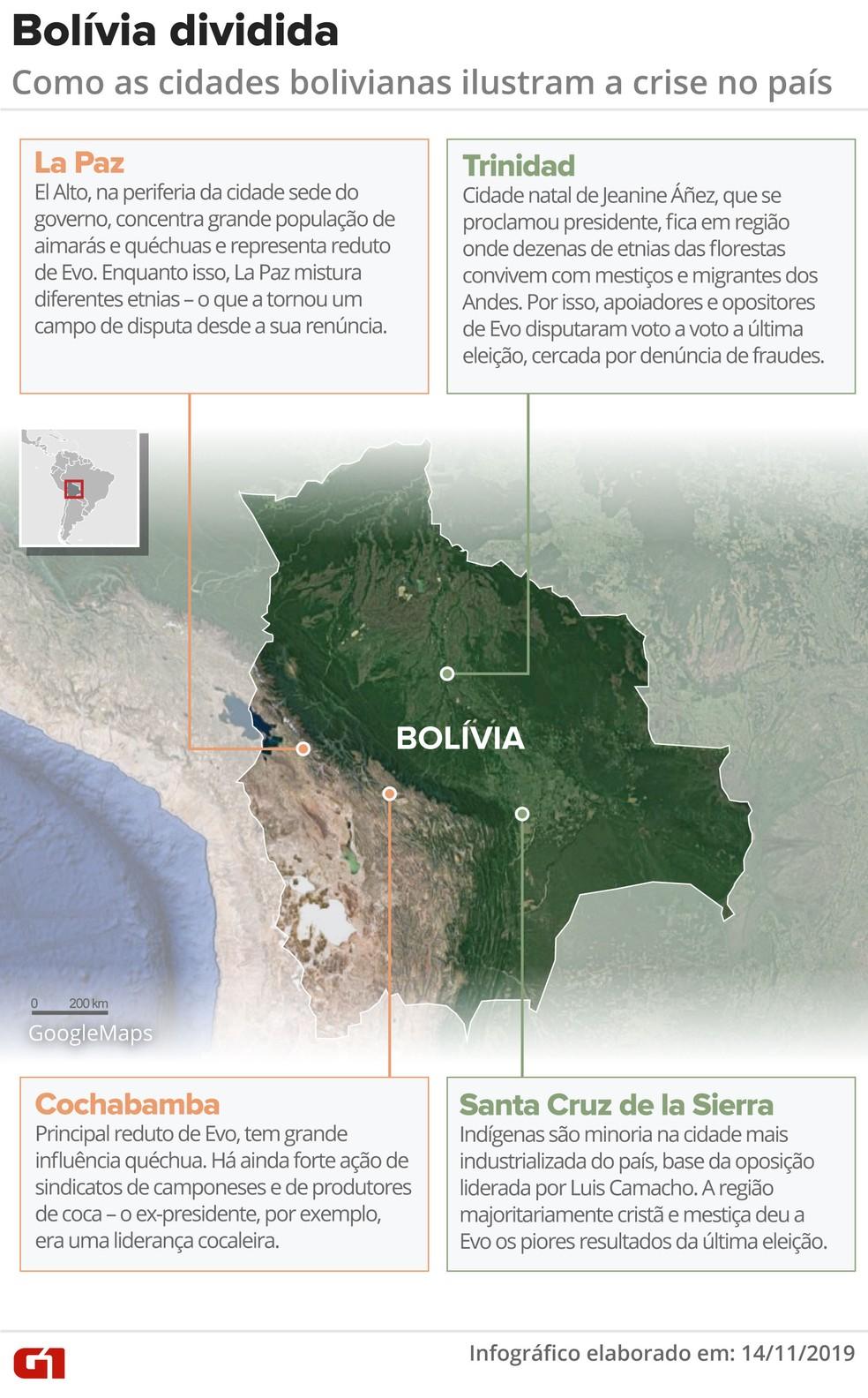 Mapa mostra cidades da Bolívia e relação com as divisões políticas do país — Foto: Wagner Magalhães/G1